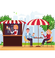 park cafe with parasol and awning couple on vector image