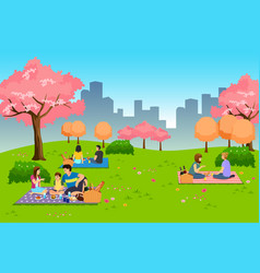 People having outdoor picnic at park during vector
