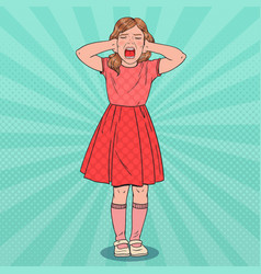 Pop art little girl screaming aggressive child vector