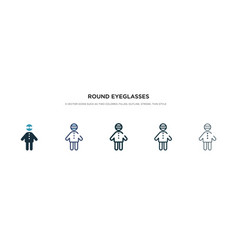 round eyeglasses icon in different style two vector image