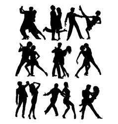 Salsa and tango activity silhouettes vector