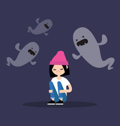 Scared girl surrounded by ghosts flat editable vector