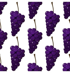 Seamless pattern of bunches of purple grapes vector image