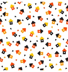 Seamless pattern with little houses and hearts vector