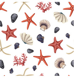seamless pattern with red starfishes shells vector image