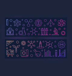 set 2 stem education colored linear vector image