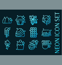 set f chocolate blue glowing neon icons vector image