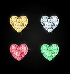 Set hearts made precious stones decoration vector