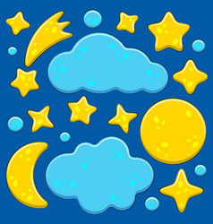 set images with night sky moon stars vector image