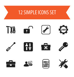 Set of 12 editable toolkit icons includes symbols vector