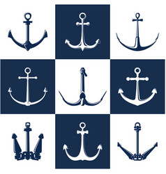 Set white and blue anchors vector