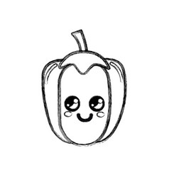 silhouette kawaii cute happy pepper vegetable vector image