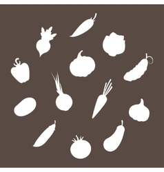 Silhouettes of Vegetables vector