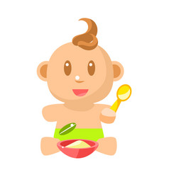 Small happy baby boy in green nappy eating vector