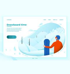 Snowboard rider looking forward to ride vector