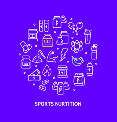 sport nutrition round design template contour vector image
