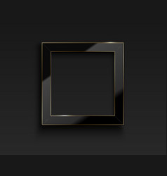 square glossy luxury black and golden line vector image