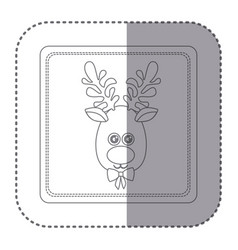 Sticker of silhouette frame of christmas reindeer vector