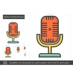 Studio microphone line icon vector