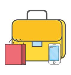 Technology suitcase cartoon vector