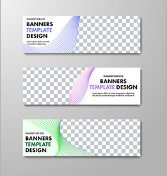 templates of horizontal white web banners with vector image