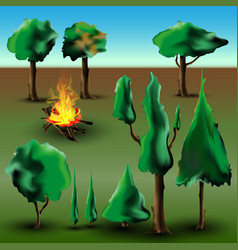 Tree and bush set with fire vector