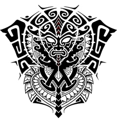 tribal god mask with alpha and omega symbol vector image