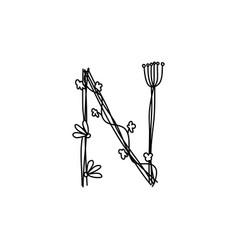 Vintage floral bold letter n logo spring classic vector