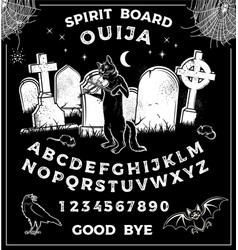 Vintage ouija board with halloween playing vector