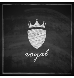 vintage with crown and shield on blackboard vector image