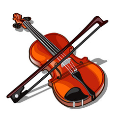 Violin and bow isolated on white background vector
