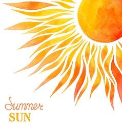 Watercolor summer sun background vector