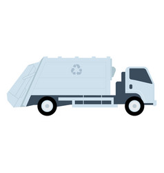 white garbage truck with recycle icon vector image