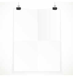 White paper hanging on two binders isolated on a vector image vector image