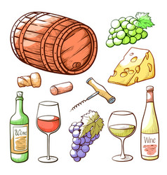 wine hand drawn set beverage and winery vector image