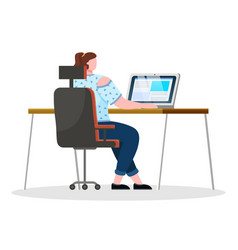 woman work on laptop at office worker workplace vector image