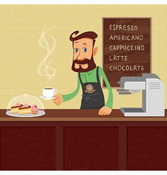 Barista at work vector image vector image
