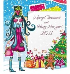 christmas paper girl sale good vector image vector image