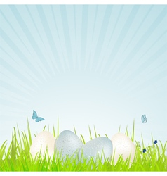 easter white and blue speckled eggs vector image