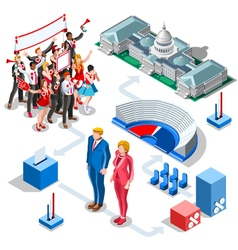 Election Infographic Us Politics Isometric People vector image