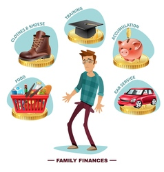 Family Budget Planning Flat Composition Poster vector image vector image