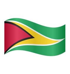 flag of guyana waving on white background vector image vector image