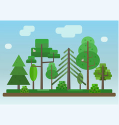 flat style forest on blue sky background vector image