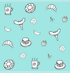 Hand drawing breakfast doodle background vector