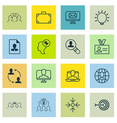 set of 16 business management icons includes vector image vector image