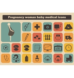 set of medical woman pregnancy baby icons vector image vector image