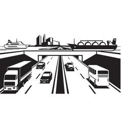 water bridge above highway vector image vector image