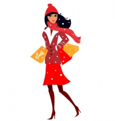 winter shopping woman in red vector image vector image