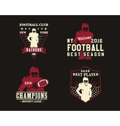 American football player team badges logos vector image vector image