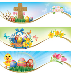 Easter horizontal banners vector image vector image